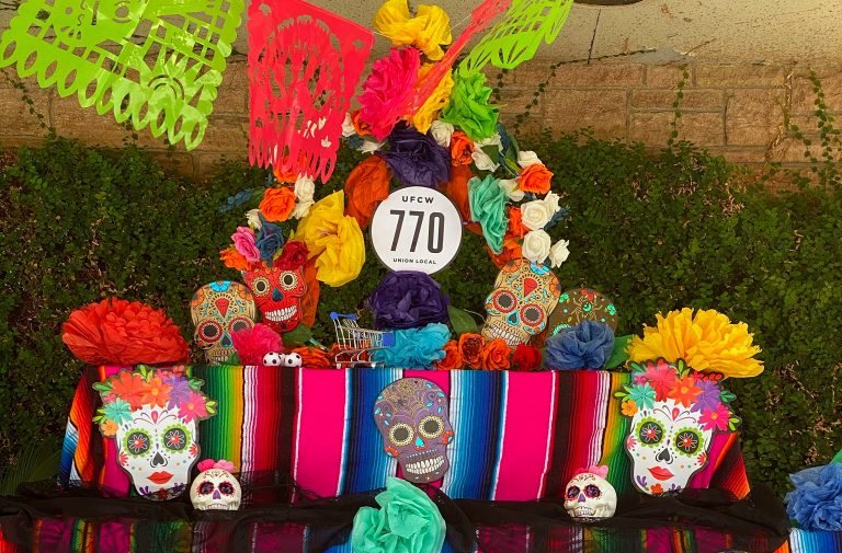 Local Labor Union Displays Day of the Dead Altar for Essential Workers Killed by COVID-19