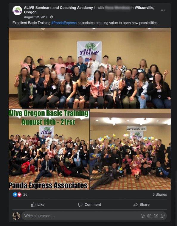 panda express alive seminars lawsuit