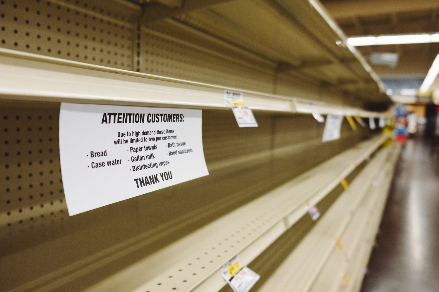 grocery store shelves empty