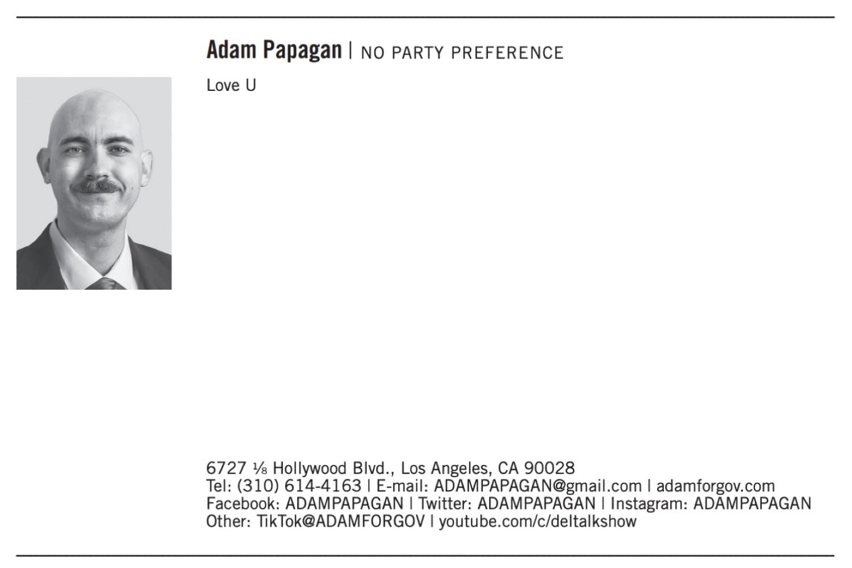 Recall candidate Adam Papagan