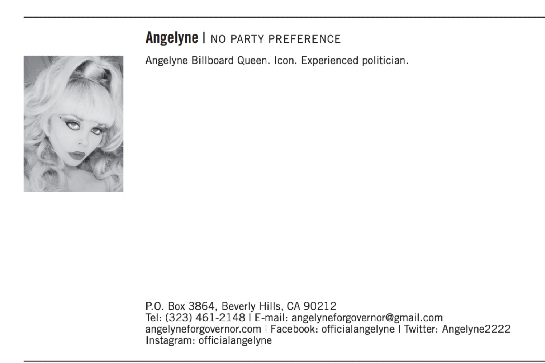 Recall candidate Angelyne