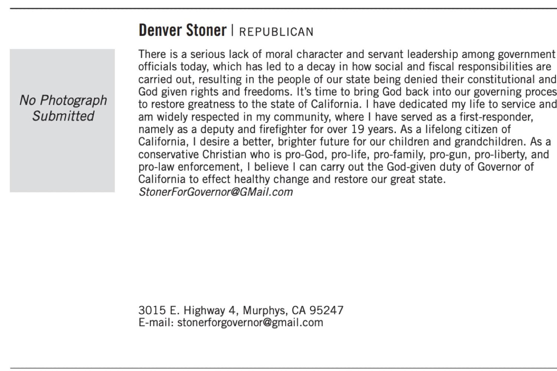 Republican candidate Denver Stoner