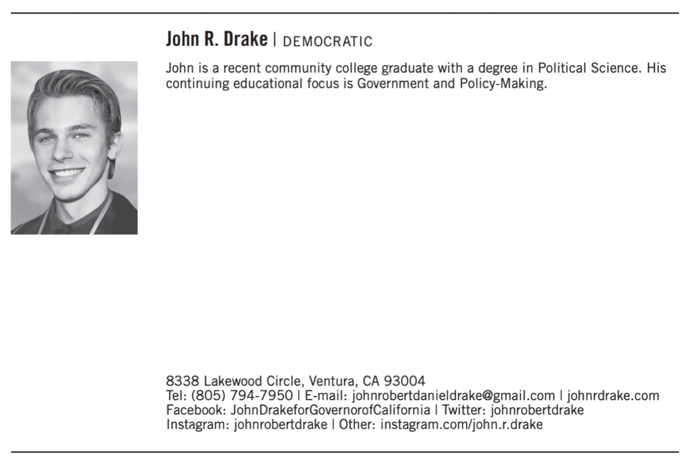 Democratic candidate John R. Drake