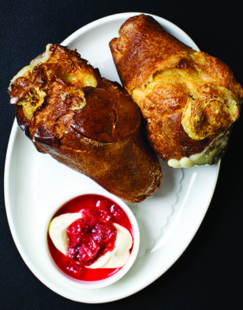 Emmental popovers with strawberry jam
